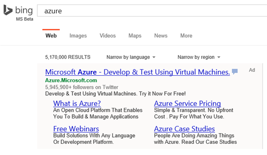 Bing ads sitelinks